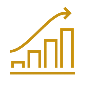 A gold icon of a trending bar chart