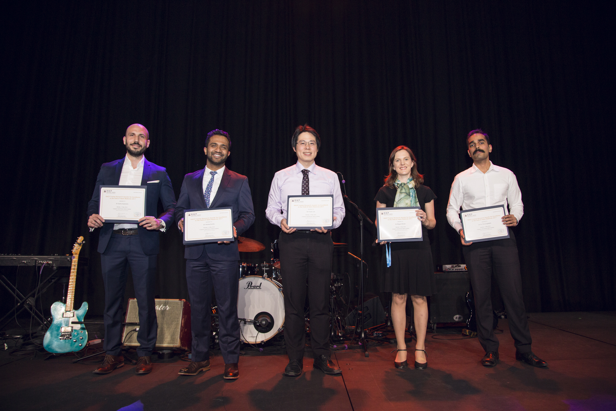 Five recipients on stage at RACP Congress
